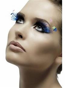 Blue with neon Feather Plumes Fever Eyelashes