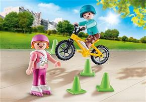 Children with Skates and Bike